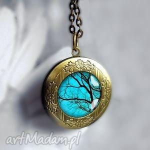 TAJEMNICZE DRZEWA- PIĘKNY MEDALION OTWIERANY, drzewo, turkusowy, oryginalny