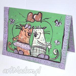 scrapbooking kartki walentynki koty 10, walentynki, koty, serce, kartka, miłość