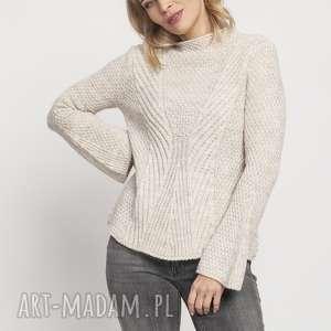sweter z delikatną stójką, swe175 beż mkm, sweter, jesień, stójka, kobiecy