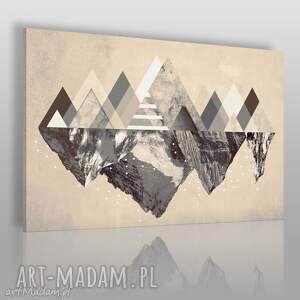 obraz na płótnie - góry zima beżowy 120x80 cm 42902, góry, trójkąty, geometryczny
