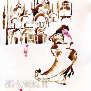 Czerwień Wenecka - obraz kawą malowany, kawa, wenecja, dama, ptaki, bazylika, pióro