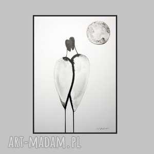abstrakcja czarno-biała, obraz ręcznie malowany, plakat miłość, prezent ślub,