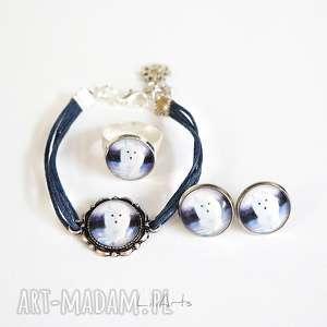 komplet - biały lis sznureczki, kolczyki, bransoletka, pierścionek