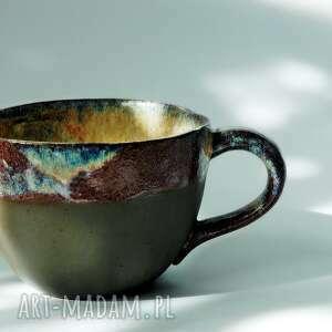 ceramika kubek pot-pourie brazowo-niebiesko-bordowy, duży kubek
