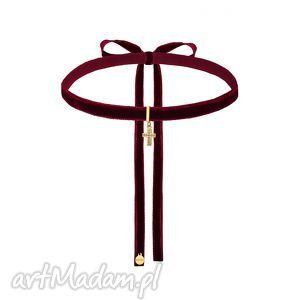 ręcznie zrobione naszyjniki bordowy aksamitny choker ze złotym krzyżykiem wysadzanym swarovski® crystal