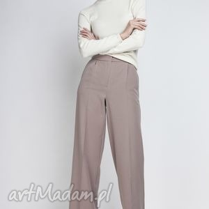 Spodnie, SD111 beż, szerokie, szwedy, eleganckie, sportowe, komunia, chrzciny
