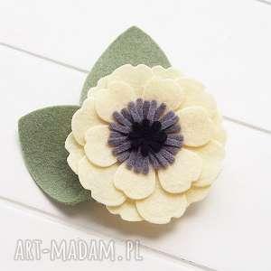 spinka do włosów kwiat anemon jasny żółty, filc, kwiaty, lato, ozdoby, spinki