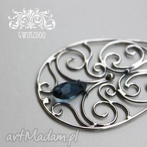 oryginalny prezent, anna grys denim blue, kwarc, srebro, oksydowane, wisiorek