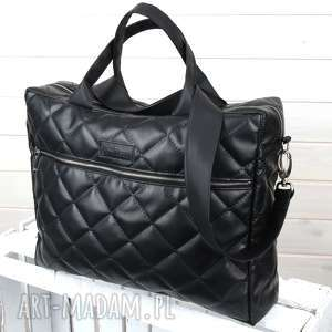 ręczne wykonanie pojemna torba aktówka laptop czarna pikowana elegancka