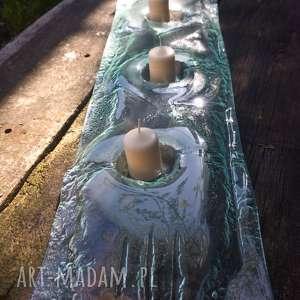 świeczniki szklany świecznik na trzy świece, szklany, szkło, szkło