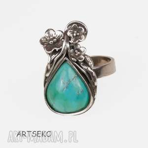 Prezent Srebrny pierścionek z okwieconym turkusem a518, pierścionek-z-turkus