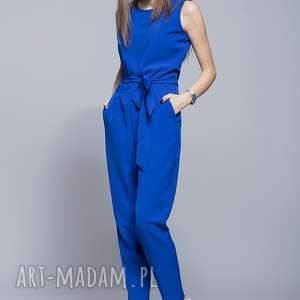 elegancki kombinezon niebieski h023, kombinezon, długie spodnie, pasek, harmony