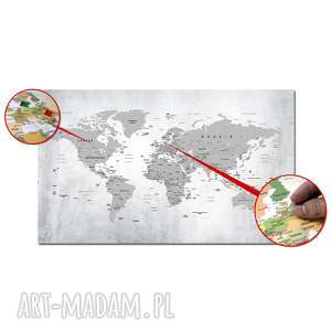 obraz na korku mapa świata nr 24 tablica korkowa 120x70cm pinezki
