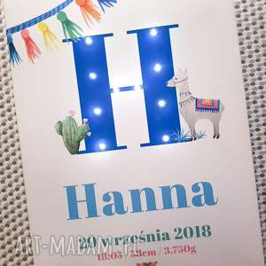 ręczne wykonanie pokoik dziecka metryczka led z lamą, świecąca litera, personalizowany