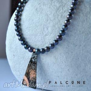 black - naszyjnik, srebro, miedź, rzemień, perły