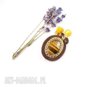Multanka: broszka sutasz - czekoladowa,z tygrysim okiem, do szala lub sukienki, soutache