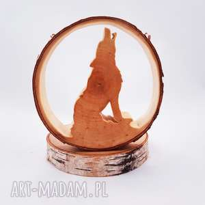 Prezent Świecznik Wilk, wilk, natura, świecznik, folk, drewno, las
