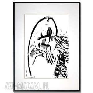 grafika w ramie pocałunek 2 30x40, pocałunek, czarno białe, miłosne