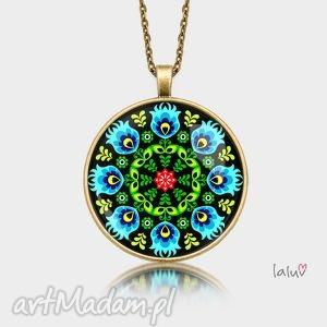 naszyjniki medalion okrągły otok, motyw, ludowy, folk, łowicka, wycinanka, folklor