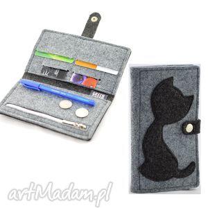 filcowy portfel z kotkiem - midi - szary i grafit, filc, filcowy, kot, kotek