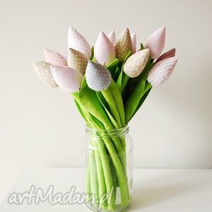 ręcznie robione dekoracje tulipany - bukiet bawełnianych kwiatków