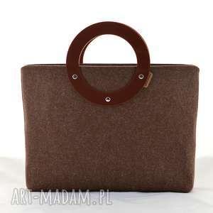 ręcznie wykonane torebki duża torebka z filcu i plexi - minimalistyczna