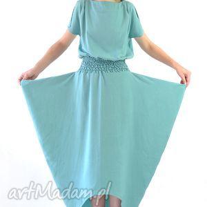 MIRISSA - suknia jedwabna, jedwab, wieczorowa, długa, oryginalna, koktajlowa, turkus