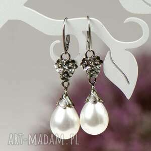 kolczyki z bialymi perlami elza a797-kol, srebro, perły