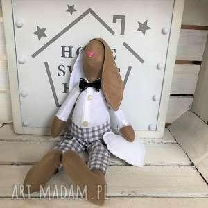 maskotki pan krolik elegancik, królik tilda, królik, anioł, chrzest, komunia