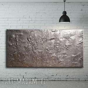 srebrna efektowna dekoracja ścienna - obraz abstrakcja, obrazy do salonu