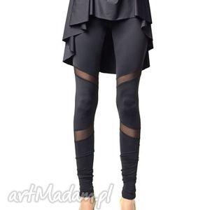 Futurystyczne matowe, legginsy, wyszczuplające, tiul, jersey