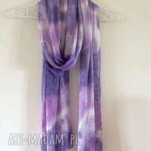 ręczne wykonanie szaliki lniany szal lila&fiolet