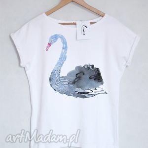 bluzki łabędź koszulka bawełniana biała l/xl, łabędź, koszulka, tshirt, nadruk
