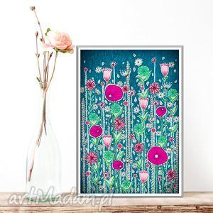 Łąka 50x70cm, kwiaty, maki, plakat