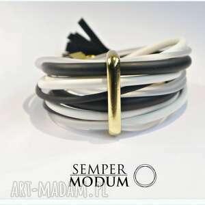 landryna ii black, bransoletka, linki, kauczuk, miejska biżuteria