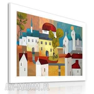 Obraz na płotnie - 100x70cm KOLOROWE DOMKI 0213, domki, obraz, kolorowe, miasteczko