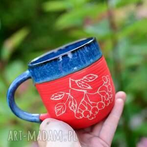 kubek handmade duży kamionkowy - jarzębina blue-420 ml ceramika na prezent, kubek