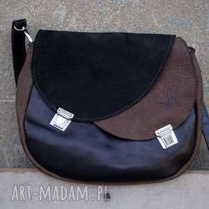 hand-made na ramię celyna torba dwukomorowa czerń/brąz