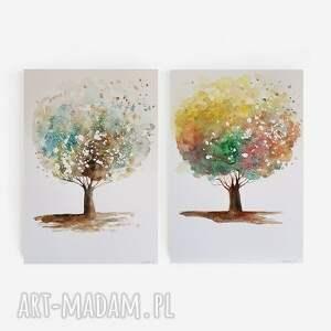 drzewa-dwie akwarele każda formatu a4, drzewa, akwarela