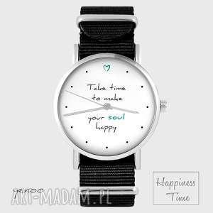 handmade zegarki zegarek - make your soul happy czarny, nato