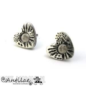 Urek - Srebro, Art Clay Silver, cyrkonia, sztyfty, srebro, kolczyki