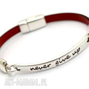 ręcznie robione bransoletka never give up pojedyncza skórzana czerwona
