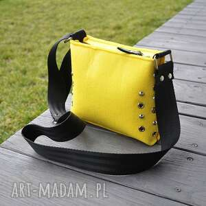 Mała torebka filcowa - żółta mini beltrani torebka, listonoszka
