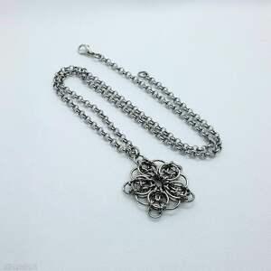 wisiorki medalion chainmaille-stal szlachetna, wisior, chainmaille, naszyjnik