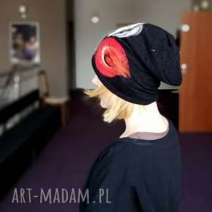czapka wełniana damska czarna z kwiatem, wełna, czapka, kwiaty, etno, kolorowa, zima