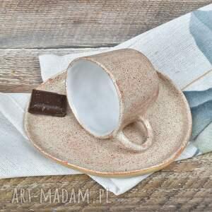 handmade ceramika filiżanka espresso ze spodkiem