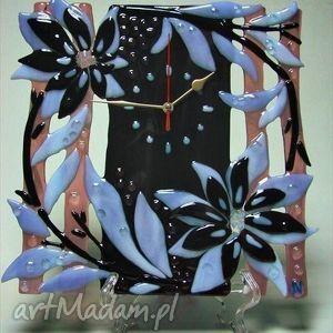 zegary artystyczna kompozycja ze szkła - zegar kwiatowy wir, szklo, zegary, kwiaty