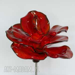 ręcznie wykonane ceramika ceramiczna róża czerwona, szkliwiona