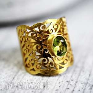 Pierścionek ORIENT peridot, kamienie, minerały, szmaragd, elegancki, orietalny
