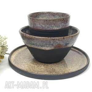 Ceramiczny komplet śniadaniowy ręcznie robiony ceramika